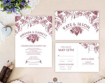 Winery wedding invitation sets printed | Shabby chic wedding | Country, barn, vineyard wedding invites | Vintage grape leaf invitation