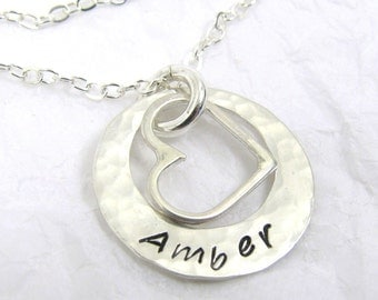 Fine Silver Pendant with Sterling Silver Heart and Chain, Valentines, Birthday, Anniversary, Hammered Silver,
