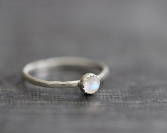 Barely There:  4mm Rainbow Moonstone, White Moonstone, Stacking Ring, Solitaire, Sterling Silver, Super Skinny, Dainty, Hammered, Bohemian