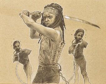 ORIGINAL DRAWING Michonne Walking Dead Zombies Pencil Pastel Figure Sketch Fine Art Horror Fan Gift Portrait 9 x 12 Inches