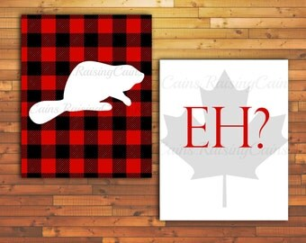 Canadian Wall Art Beaver Wall Art EH? print PRINTABLE Canada Day Maple leaf Canada Day decor Canadian Printable Red Flannel print Maple leaf