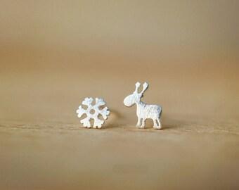 silver deer and snowflake stud earrings