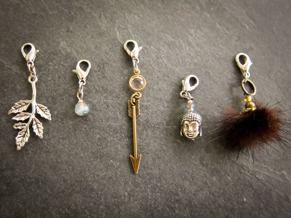Necklace abundance and serenity: crystal, recycled fur, branch pendant, arrows pendant, Buddha