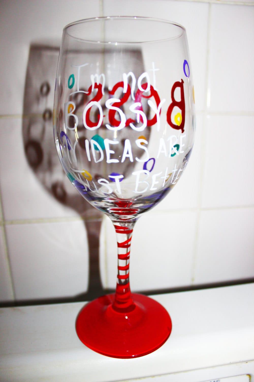 Gift for Boss Boss wine glass Custom wine by ArtByChristinaDudycz