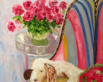 Original oil painting of white dog in chair
