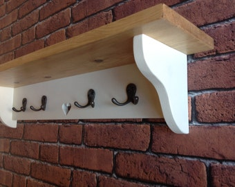 Shabby Chic coat hook rack shelf