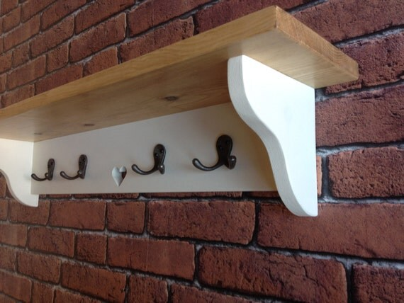 Shabby Chic Coat Hook Rack Shelf