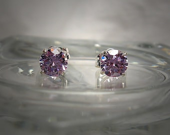 High Quality Lavender 5mm Round Brilliant Cut Cubic Zirconia Sterling Silver Stud Earrings