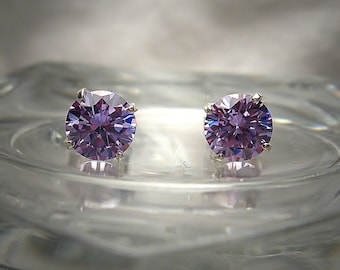 Lavender 6mm Hearts and Arrows Cut Cubic Zirconia Sterling Silver Stud Earrings