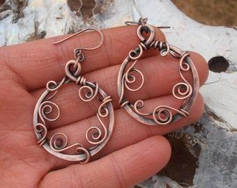 Simple rustic and romantic copper hoop earrings