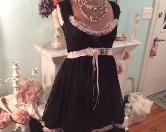 Upcycled Dress Romantic Steampunk Paris Pink& Black Lace Fantasy sale was 55 now 47
