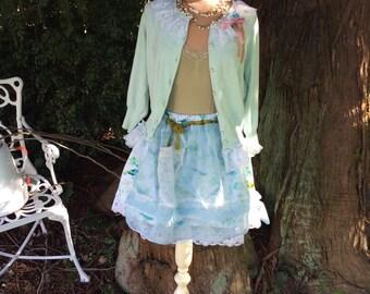 Woodland Skirt Birds and Lace Mori Girl Fairytale Romantic