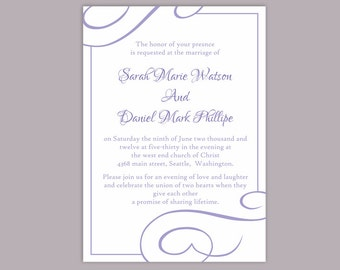 DIY Wedding Invitation Template Editable Word File Instant Download Printable Invitation Purple Invitation Lavender Wedding Invitation
