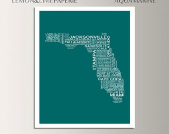 Florida Typographic Map, Florida Typography Map Print, Florida Art Print, Florida Wall Art, Custom Florida Map, FL Poster, FL Unique Gift