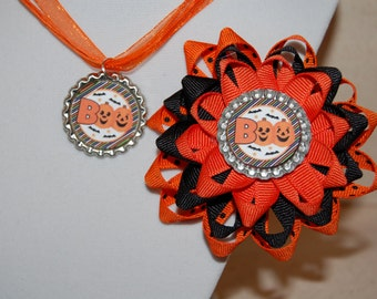 Pumpkin Bow and Necklace Set