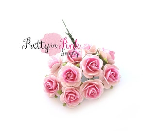 "3/4"" Baby Pink/Pink Center Premium Paper Flowers,Wire Paper Flowers, Floral Crown Flowers,2cm ..."