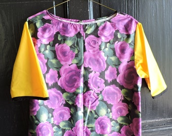 Custom Jockey Style Canary and Floral Print Blouse