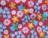 Vintage Material Yardage Flowers Daisy Tulip Original Tag Over 2 Yards
