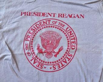 Vintage Commemorative President Ronald Reagan Tshirt Visit to Columbus Ohio Gray Red Size Large