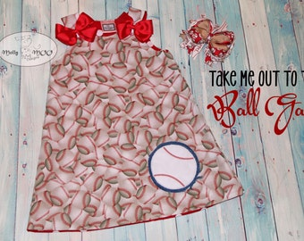 Take Me out to the Ball Game Baseball (Childs dress only)