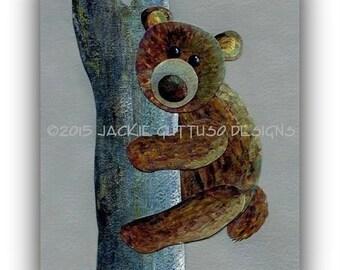 """Bear art, Giclee 8 x 10"""", Woodland nursery art, Forest nursery art, Brown bear collage, Forest animal collage, Cabin decor, Acrylic bear art"""