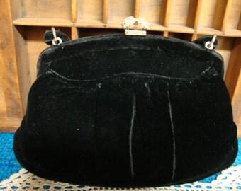 Vintage Black Velvet Handbag Rhinestone Clasp
