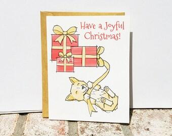Christmas Card with Corgi Illustration