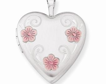 Sterling Silver 20mm Satin, D/C and Enameled Flower Heart Locket