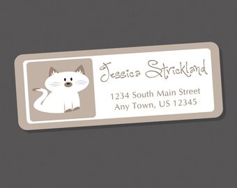Siamese Cat Address Labels, Return Address Labels, Address Stickers, Cat Labels, Personalized Address Labels, White Cat, Kitty