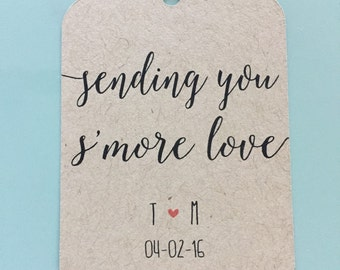 Wedding Favor Tags, Sending You S'more Love Tags, Dessert Tags, S'more Tags, S'more Love, Customized Wedding Tag