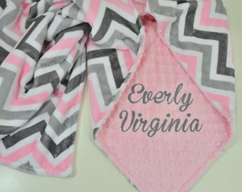 Personalized Minky Baby Blanket - Blush / Silver Chevron Minky - Blush Pink Minky Dimple Dot - Custom Baby Blanket - Monogram