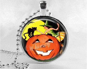 VINTAGE HALLOWEEN Necklace, Witch, Vintage Witch, Witch Necklace, Black Cat, Glass Art Necklace, Full Moon,Jack O Lantern, Halloween Jewelry