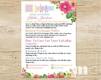 LuLaRoe Custom Care Cards, LuLaRoe Customer Care Card Postcard, Post Cards for LLR Parties, Washing & Care Instructions, Returns, PRINTABLE