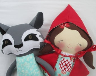 Little Red Riding Hood Doll and The Big Bad Wolf Set of 2- Made to Order- soft doll, rag doll, imaginative play, red and aqua,