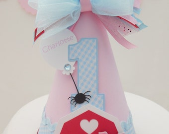 Little Barnyard Pig - Barn - Farm - Pink, Blue Gingham and Red Birthday Party Hat - Personalized - Charlotte's Web Inspired