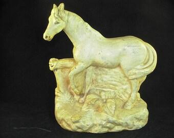 Antique Metal HORSE SCULPTURE STATUE, Equestrian Decor, Cold Painted
