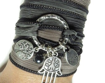 Tree Of Life Namaste Silk Wrap Bracelet Hamsa Yoga Jewelry Believe Spiritual Bohemian Karma Wrist Wrap Birthday Christmas Stocking Stuffer