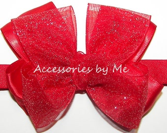 Sparkly Headband, Red Glitter Bow Band, Sparkly Red Organza Satin Bow Thin Band, Infant Newborn Girls Hair Bow Bands, Wedding Pageant Bows