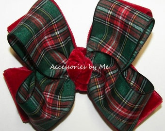 Plaid Hair Bow, Christmas Hair Clip, Red Green Scottish Tartan Bows, Girls Toddler Accessories Clip, Wedding Pageant School Dance Dress Up