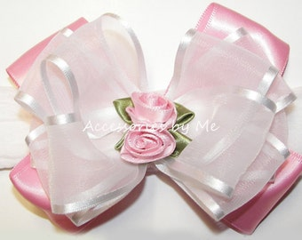 Pink White Headband, Pink Bow Hair Band, Newborn Pink White Bow Band, Girls 1st Birthday Bow, Dressy Baptism Accessory, Rose Flower Headband