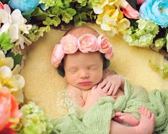 Peachy pink floral tieback, baby flower headband, flower head piece