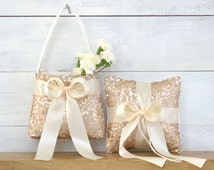 Wedding Ring Bearer Pillow and Flower Girl Basket - Champagne Sequin and Ivory Satin Bow - Ring Bearer Flower Girl Set, Sequin Ring Bearer