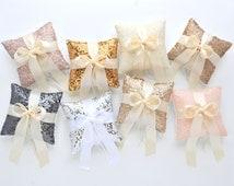 Wedding Ring Bearer Pillow - Taffeta Sequin with Satin Bow - Sequin Ring Pillow, Wedding Ring Bearer, Sparkle Ring Bearer Pillow
