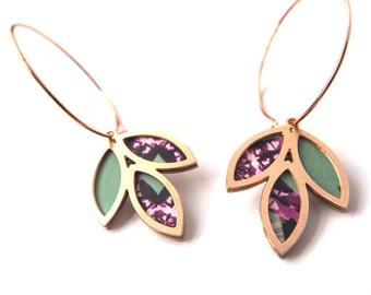 Floral Hoop Earrings - Bridesmaid Earrings - Floral Dangle Earrings - Flower Earrings - Gift For Her - Gifts For Mum - UK Seller