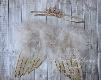 Chrissanth Gold Angel Wing Set- Beige Angel Wings- Newborn Angel Wing- Baby Angel Wings- Newborn Photo Prop- Photo Prop- Photography Prop
