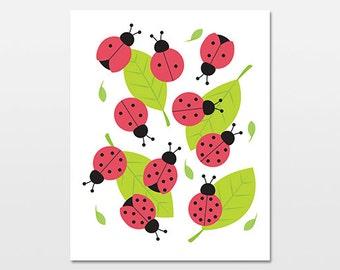 Ladybug Nursery Art, Ladybug Counting Print, Nature Nursery Print, Insect Bug and Leaf Artwork