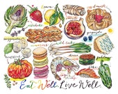Food Art. Kitchen Decor. Eat well, live well. Illustration.