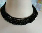 Ciner Black Crystal and Faux Diamond Jewelry Set, Necklace and Bracelet, Circa 1950.