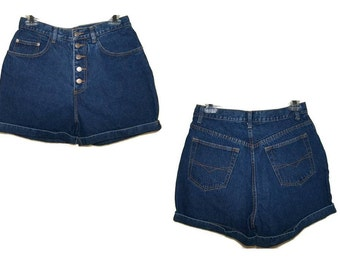 Vintage 90's Retro High Waisted Women's Size 11 / 12 Blue Jean Denim Button Fly Shorts