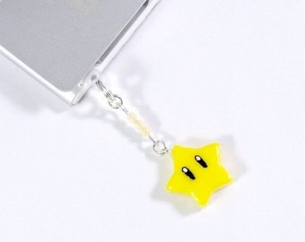 ON SALE Super Mario Invincibility Star Dust Plug Phone Charm, For iPhone or iPod, Power Up, Cute, Kawaii :D